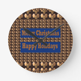 Merry Christmas  Happy Holidays Text Template GIFT Round Wall Clocks