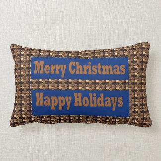 Merry Christmas  Happy Holidays Text Template GIFT Lumbar Pillow