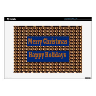 "Merry Christmas  Happy Holidays Text Template GIFT 15"" Laptop Skin"