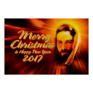 Merry Christmas Happy New Year 2017 Jesus Poster