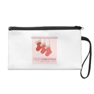 Merry Christmas Happy New Year Wristlet Clutch
