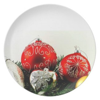 Merry Christmas Happy New Year baubles Dinner Plate