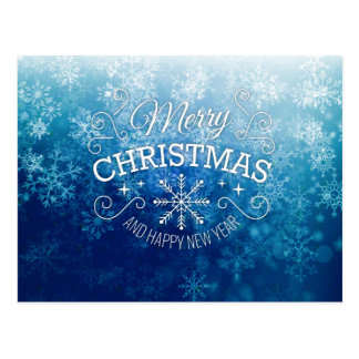 Merry Christmas & Happy New Year Blue Snowflakes Postcard