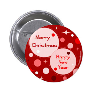 Merry Christmas Happy New Year 2 Inch Round Button