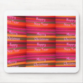 Merry Christmas Happy New Year Canvas Color Design Mouse Pad