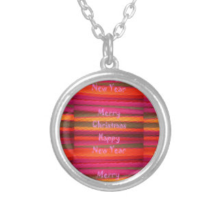 Merry Christmas Happy New Year Canvas Color Design Silver Plated Necklace