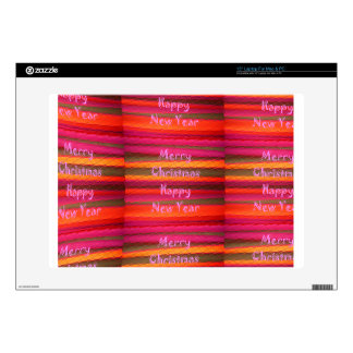 "Merry Christmas Happy New Year Canvas Color Design Skins For 15"" Laptops"