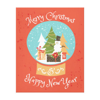 Merry Christmas Happy New Year Canvas Print