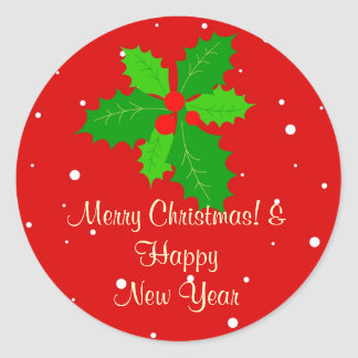 Merry christmas & happy new year classic round sticker