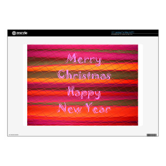 "Merry Christmas Happy New Year Color Design 15"" Laptop Decals"