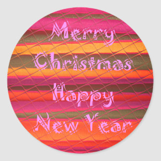 Merry Christmas Happy New Year Color Design Classic Round Sticker