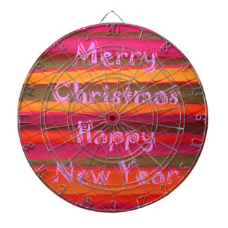 Merry Christmas Happy New Year Color Design Dartboard With Darts