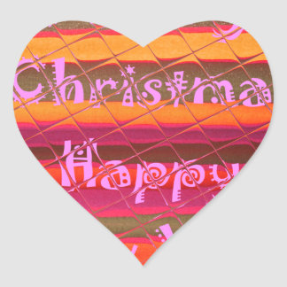 Merry Christmas Happy New Year Color Design Heart Sticker