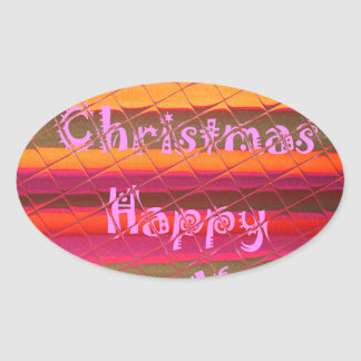 Merry Christmas Happy New Year Color Design Oval Sticker