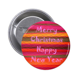 Merry Christmas Happy New Year Color Design Pinback Button