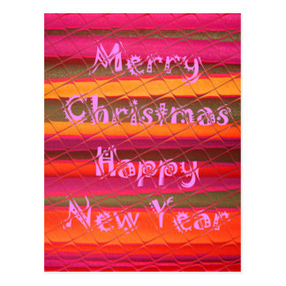 Merry Christmas Happy New Year Color Design Postcard