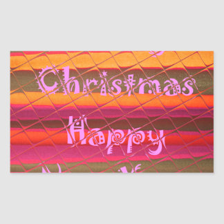 Merry Christmas Happy New Year Color Design Rectangular Sticker
