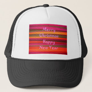 Merry Christmas Happy New Year Color Design Trucker Hat