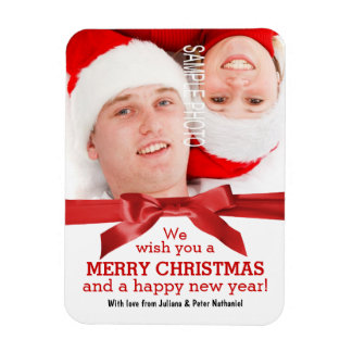 Merry Christmas Happy New Year Cute Couple Red Bow Magnet