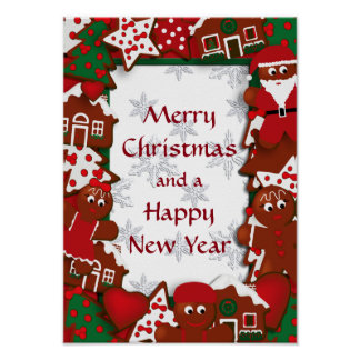 Merry Christmas Happy New Year Gingerbread Poster