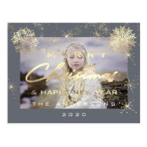Merry Christmas Happy New Year Gold Graphite Photo Postcard