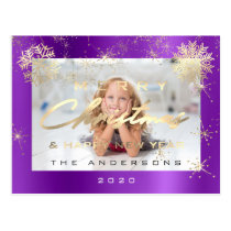 Merry Christmas Happy New Year Gold Purple Photo Postcard