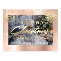 Merry Christmas Happy New Year Gold Snow Photo Postcard