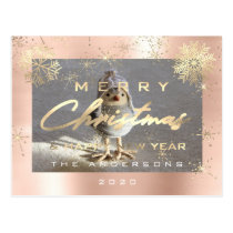 Merry Christmas Happy New Year Gold Snowflakes Postcard