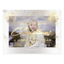 Merry Christmas Happy New Year Gold White  Photo Postcard