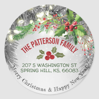 Merry Christmas & Happy New Year Greeting Address Classic Round Sticker