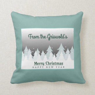 Merry Christmas Happy New Year Greeting Throw Pillow
