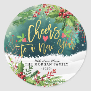Merry Christmas Happy New Year Stickers & Sticker Designs | Zazzle