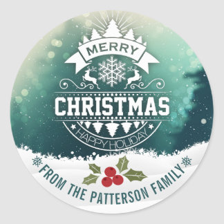 Merry Christmas & Happy New Year Holiday Greetings Classic Round Sticker