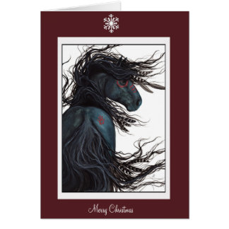 Merry Christmas Happy New Year Horse by Bihrle Card