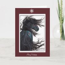 Merry Christmas Happy New Year Horse by Bihrle Holiday Card
