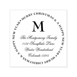 Merry Christmas Happy New Year Name & Address Self-inking Stamp