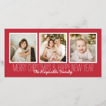 Merry Christmas Happy New Year Red 3 Photo Overlay Holiday Card