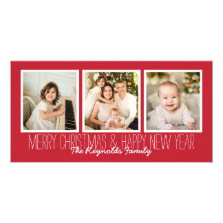 Merry Christmas Happy New Year Red 3 Photo Overlay Photo Card