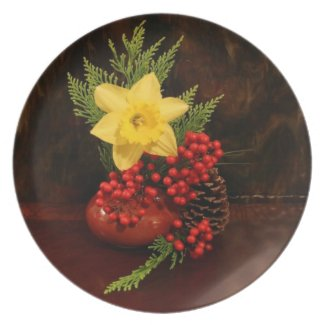 Merry Christmas Happy New Year red berries Plate