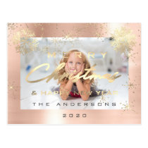 Merry Christmas Happy New Year Rose Gold Photo Postcard