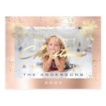 Merry Christmas Happy New Year Rose Snow Photo Postcard