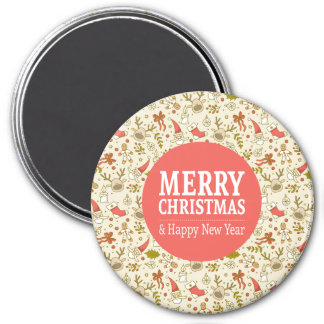Merry Christmas & Happy New Year Round Magnet