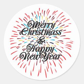 Merry Christmas Happy New Year Round Sticker