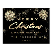 Merry Christmas Happy New Year Snow Gold Black Postcard