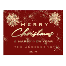 Merry Christmas Happy New Year Snow Gold Burgundy Postcard