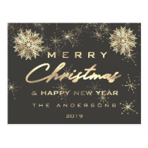 Merry Christmas Happy New Year Snow Gold Gray Grey Postcard
