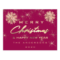 Merry Christmas Happy New Year Snow Gold Pink Postcard
