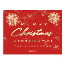 Merry Christmas Happy New Year Snow Gold Red Lux Postcard