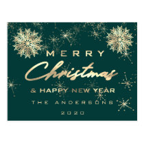 Merry Christmas Happy New Year Snow Gold Teal Postcard