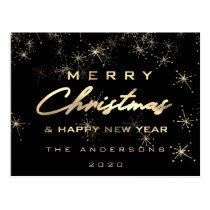 Merry Christmas & Happy New Year Spark Gold Black Postcard